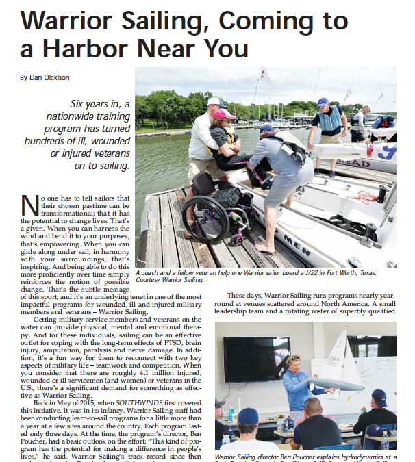 Warrior Sailing Featured in Southwinds Magazine